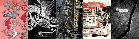 Capas das cinco edições da revista Jandique