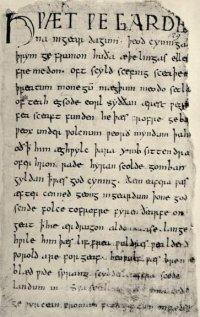 Primeira página do manuscrito de Beowulf
