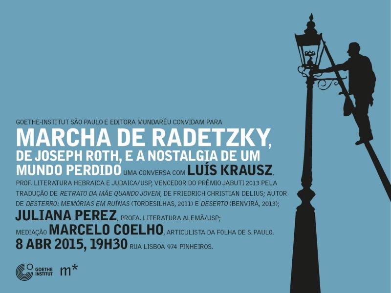 Convite para o lançamento do livro Marcha de Radetzky, de Joseph Roth, no Instituto Goethe São Paulo