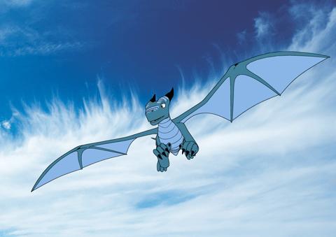 Dragão azul voando