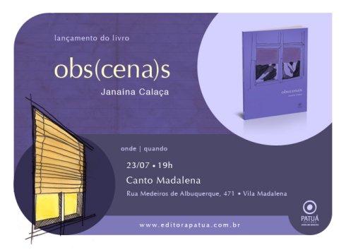 Convite para o lançamento do livro Obs(cena)s