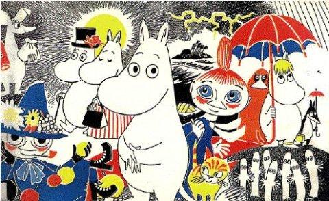 Personagens da série Moomin, da finlandesa Tove Jansson.