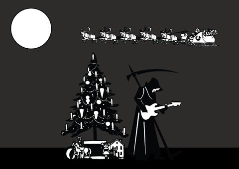 Morte tocando guitarra no Natal