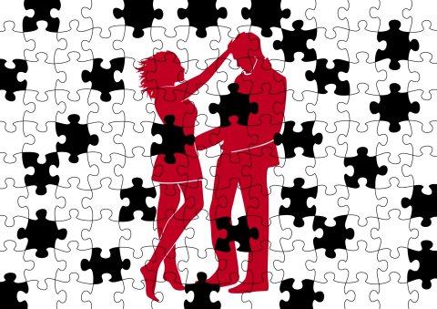 Casal em quebra-cabeça